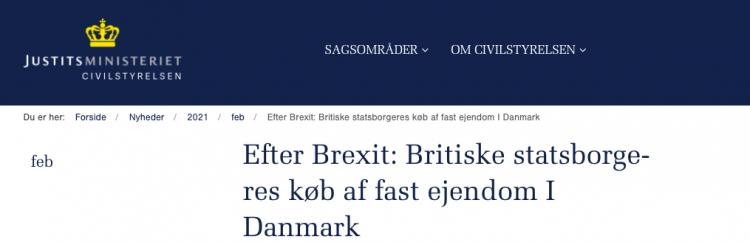 Britiske statsborgeres køb af fast ejendom I Danmark